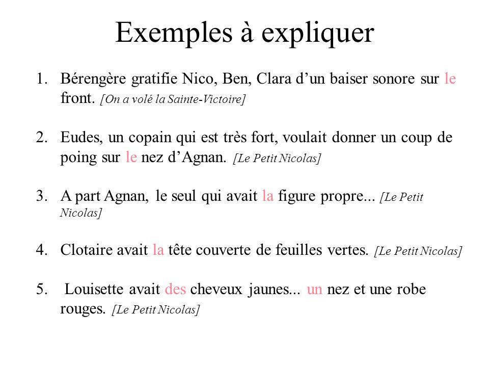 Exemples à expliquer Bérengère gratifie Nico, Ben, Clara d'un baiser sonore sur le front. [On a volé la Sainte-Victoire]